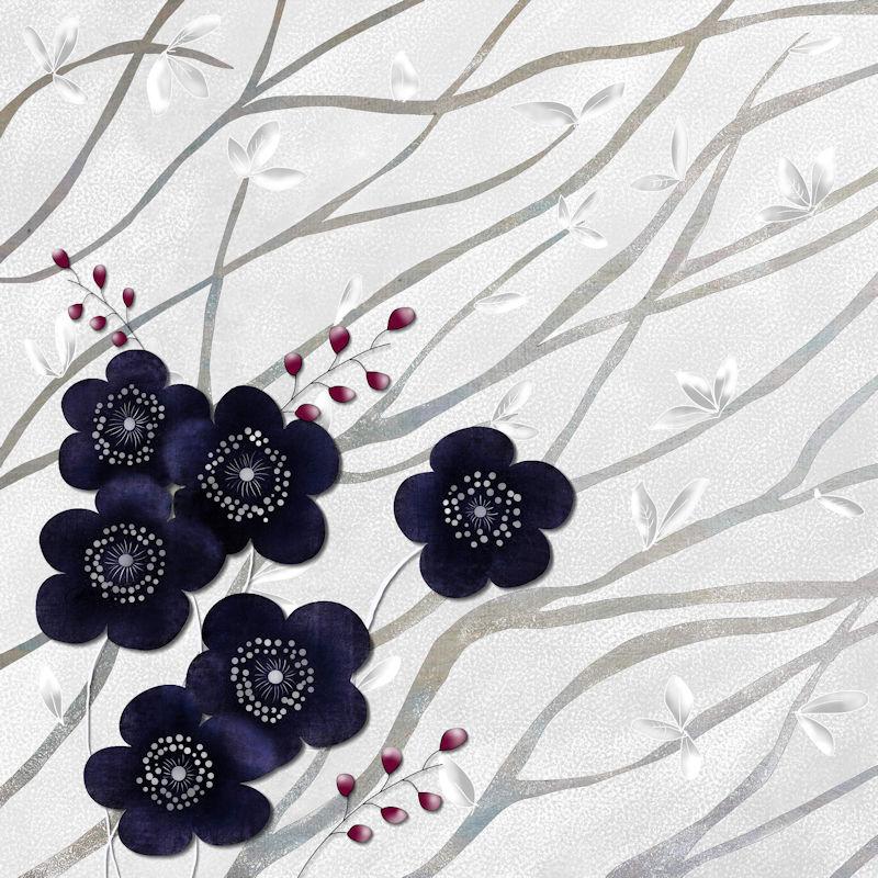 Kimono Print Branches and Blossoms Navy TN