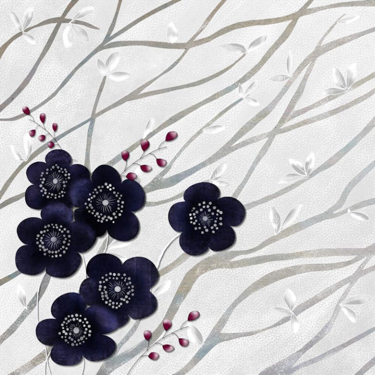 Kimono Print Branches and Blossoms Navy TN