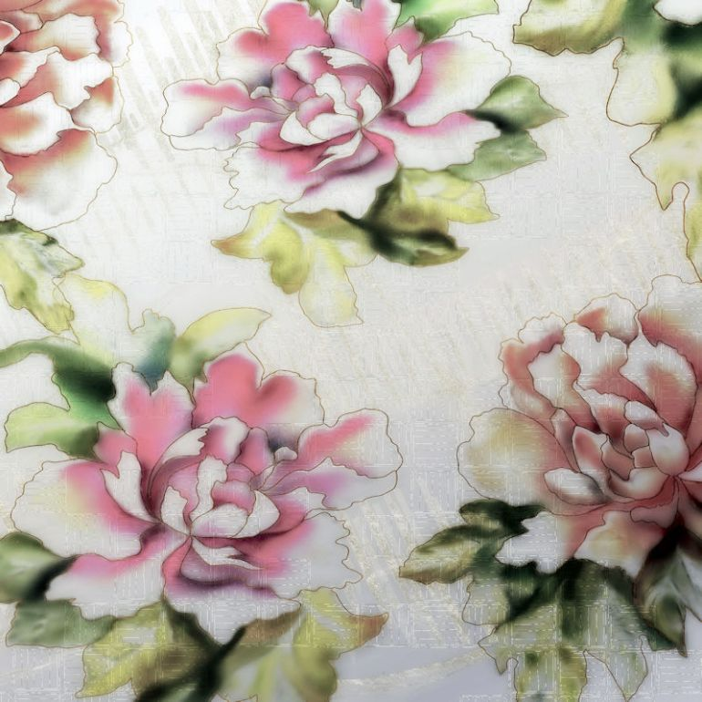 Modern Peony with Basketweave Kimono Print TN