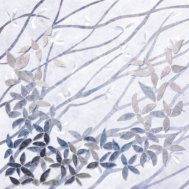 Neutral gray leaves and branches print TN