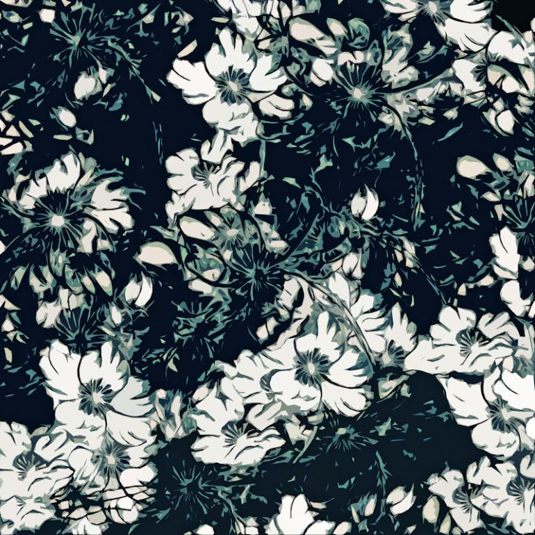 Green Black and White Floral Print TN