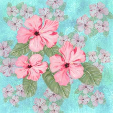 Malaysian Multi Hibiscus Print TN